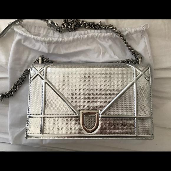 Dior Handbags - Diorama Bag in silver-tone metallic calfskin 390c99429dbbf